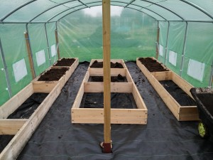 Poly tunnel raised beds