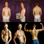 Before and after photo for 12 week transformation from Jan to April.